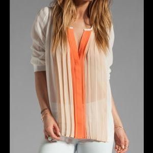 Joie silk coral dusty pink sand color block top, L